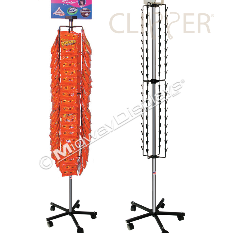 Clip Rack Floor Spinner With Caster Base In Stock