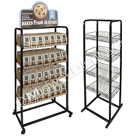 Dual-Frame 4-Tier w/Casters | Roll-Around Snack Rack