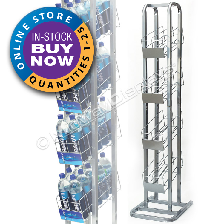 Retail Beverage Rack | Liter & 750ml Bottle Rack | 4-Tier