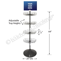 4-Tier Round Wire Tray Floor Display