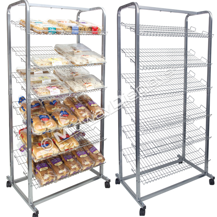 Bakery Display Stand for Retail | Casters for Mobility | Angled ...