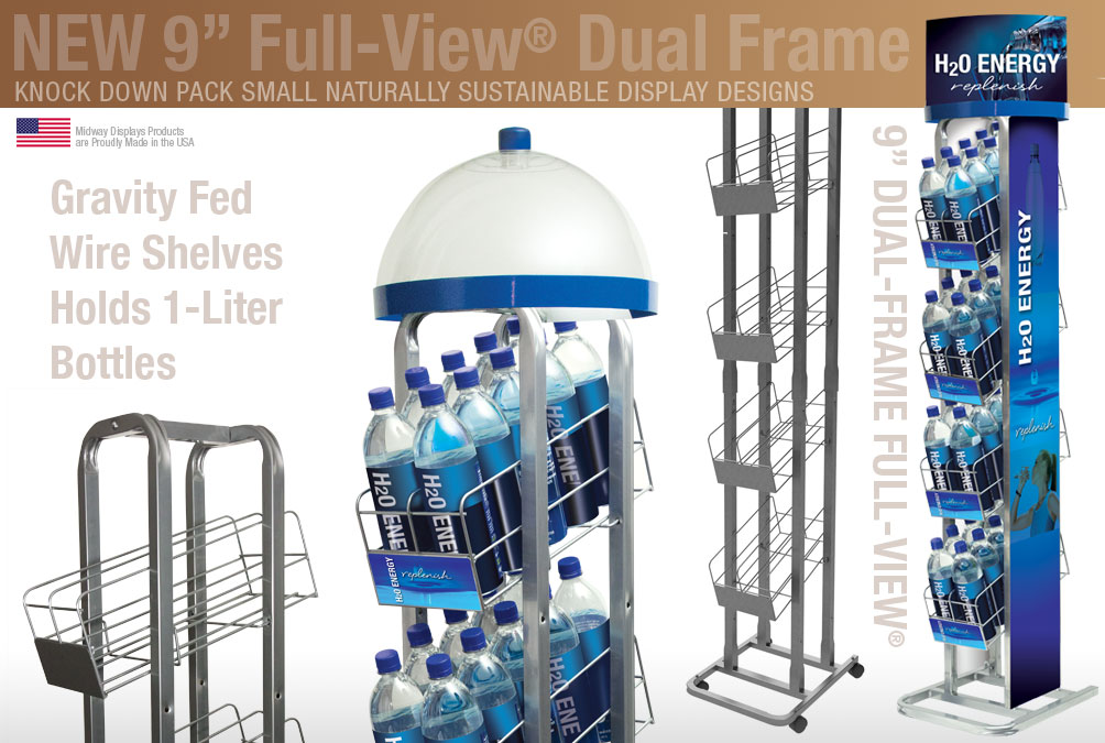 Contemporay Compact Water Bottle Rack with Gravity Fed Wire Shelves | Holds 1 liter bottles