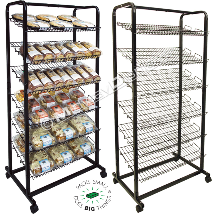 Retail Bakery Rack | Mobile Angled Shelf Bread Stand | Made in USA ...
