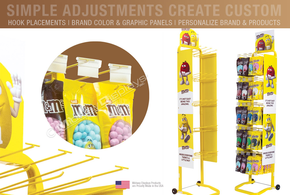 M&M's Customized 5-Tier Mobile Candy Merchandiser with Custom Fixed Hook Bars