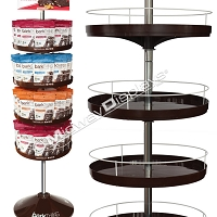 Retail Candy and Snack Tray Spinner Stand | 4-Tier Custom Branding