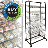 Retail Bakery Rack | Mobile Metal Display | 6 Tier Angled Shelf | DFM6SHELFCS