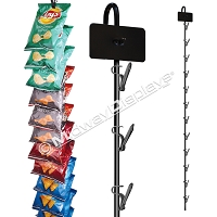 Hanging Clipper Merchandiser Black 12 Clip Metal Display Strip