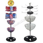 4 Tier Product Display | 2 Tiers Hook & Rotor with 2 Tiers Clear Bins | Floor Stand