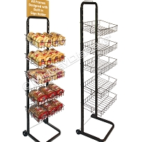 Compact Bakery Rack | 5-Tier Wheeled Merchandiser