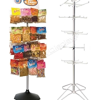 Salty Snack Merchandiser | Modular Floor Spinner | 4-Tier H-Rotor Using 8-Hooks