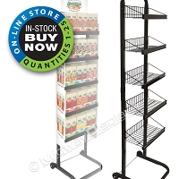 Roll-Around 5-Tier Full-View® Metal Rack | Angle Shelves
