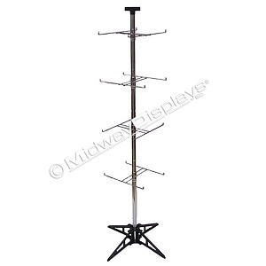 4 Tier, 4 Hook H-Rotor Merchandiser Modular Floor Spinner