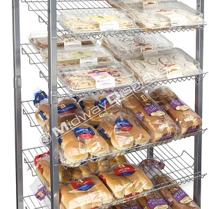 6 Tier Bakery Rack for Retail | Wire Angled Shelves | Roll-Around Rack