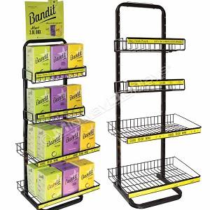 4 Tier Metal Wire Box Wine Display | Wire Basket & Shelf Stock Display Parts