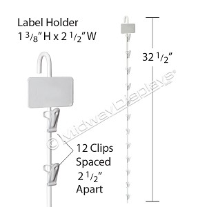 Hanging Retail Strip | White Metal 12 Clip